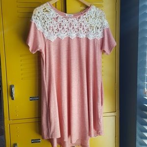 Lace crochet umgee t shirt dress